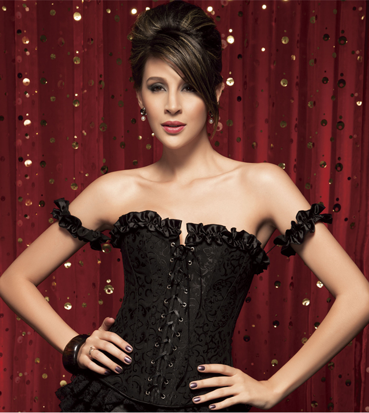 Black Tie-Strap embroidered Corset BC1365