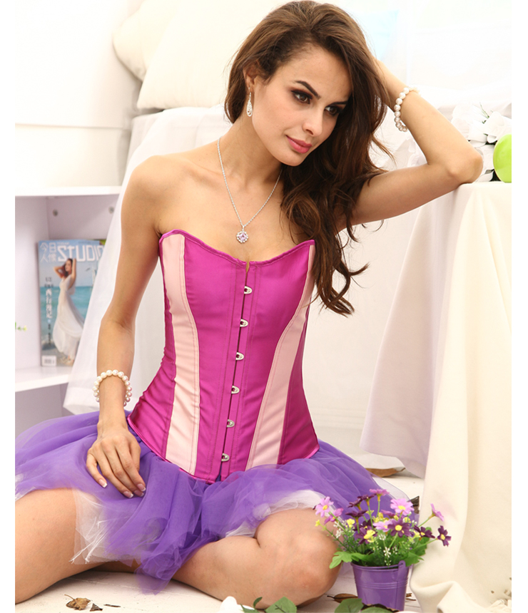 Classic Purple Corset with Pink Stripe BC1386
