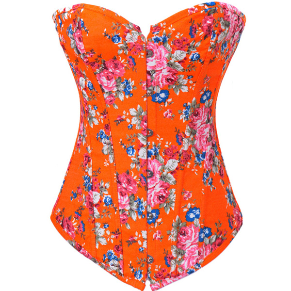 Floral Fantasy Denim Corset Orange BC1345