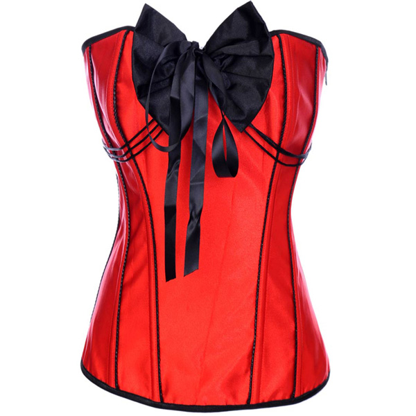 Red Corset with Big Black Bow BC1354